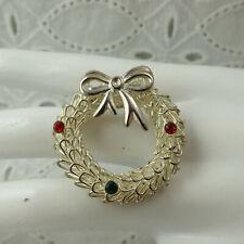 Vintage Silver Tone Wiry Pine Needle Christmas Wreath w/ 3 Rhinestone Pin Brooch