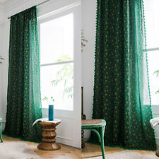 Tassel Curtains For Living Room Cotton Linen Boho Window Drape Panels Treatment