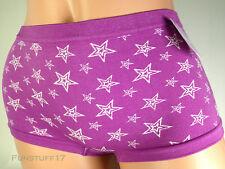 St. Eve Purple with White Stars Boyshort Panty, Size M