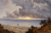 Handpainted Oil painting seascape & sail boats on ocean before storm landscape