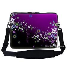 "17.3"" Laptop Computer Sleeve Case Bag w Handle & Shoulder Strap Flower Purple"