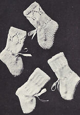 Vintage Knitting PATTERN to make Baby Infant Knitted Socks Booties Textured Lace