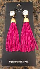 Sold Out! Nwt Fresh Raspberry J.Crew Factory Crystal Beaded Tassel Earrings!