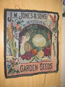 Jones & Sons Garden Seeds Tapestry Pillow Top Fabric Piece