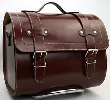 Large Leather Top Case Roll Bag Vespa Primavera PX LXV GTS GTV Vintage Brown