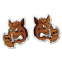 2X Angry Boars Sticker Decal Hunting Car 4x4 Vinyl Wild
