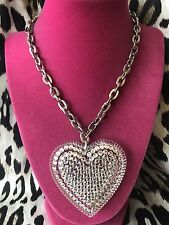 Tarina Tarantino Vintage HUGE Big Love Clear Lucite Heart Crystal Necklace RARE