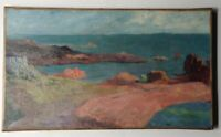 Antique Oil French Impressionist Painting Pont Aven Britain Seascape Henry MORET