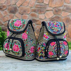 Women Ethnic Style Floral Embroidered Backpack Shoulder Bag Pack Travel Bag