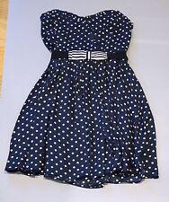 Zara trf navy blue polka dot bandeau dress with bow belt size S *brand new*