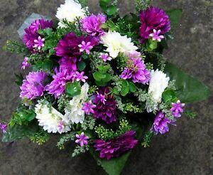 Quality Artificial / Silk Flower Arrangement Grave vase / Memorial / Crem Pot