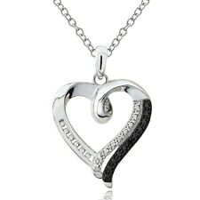 Sterling Silver Black Diamond Accent Open Heart Necklace