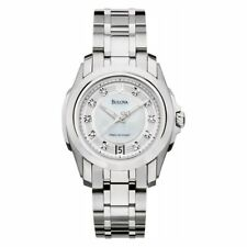 Bulova Precisionist White Dial Stainless Steel Ladies Watch 96P115