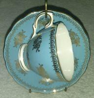 COLCLOUGH BONE CHINA RIDGEWAY MADE IN ENGLAND TEACUP & SAUCER BLUE GOLD vintage