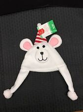 **NEW** White Polar Bear w/Pink Ears Red Candy-Cane Stripe Hat Christmas Toddler