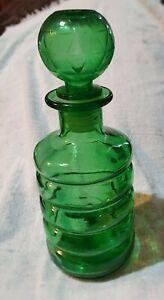 Vintage Retro Green Ribbed Italian Genie Bottle Decanter