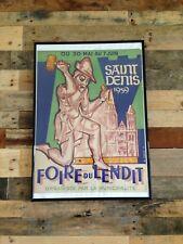 LARGE ORIGINAL c1959 SAINT DENIS FOIRE DU LENDIT FRENCH POSTER PARIS MID CENTURY