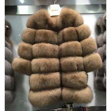 100% Real genuine blue (Vulpes lagopus) fox fur coat length 75 cm