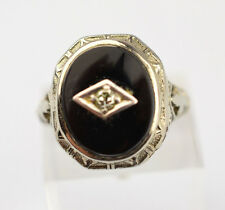 ANTIQUE 14K WHITE GOLD FILIGREE OVAL ONYX & DIAMOND ACCENT RING SIZE 5
