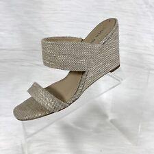Via Spiga Women's Wedge Sandals Beige Canvas Size 7.5 M