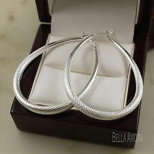 925 Stamped Silver Textured Oval Hoop Earrings - Drop 50mm - NEW - UK -162