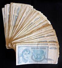 Yugoslavia 100 dinara 1992. - lot of 100 pcs