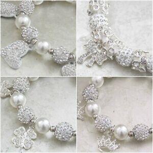 Crystal Diamante Rhinestone Charms Shambala Elasticated Bridal Bracelet Gift UK