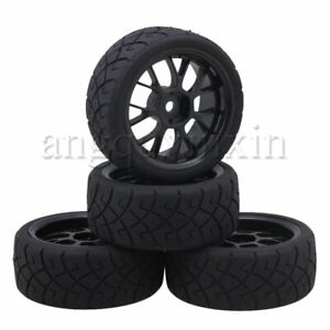 RC Wheel Rims & X Pattern Black Rubber Tyres Sets for RC 1:10 On Road Car