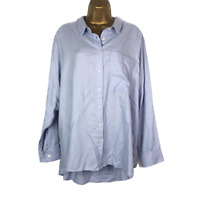 M&S Ladies Chambray Relaxed Fit Shirt Size 24 Blue Long Sleeve Blouse Pocket