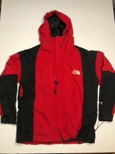 The North Face Mens Summit Series Ski Jacket Red Black Hooded Lined Zipper S