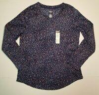 St. Johns Bay Active Womens Navy Dot Long Sleeve Fleece Pullover Shirt Top S NWT