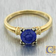 1930s Antique Art Deco Estate 14k Yellow Gold 1.00ctw Synthetic Sapphire Ring