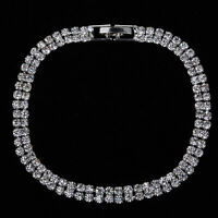 Silver Plated Bracelet Bangle Chain Wristband Crystal Fashion Jewelry For Women