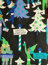 CHRISTMAS SCRUB TOP SIZE XL SANTA'S WORKSHOP ELVES NWT NURSE MEDICAL DENTAL CNA