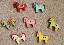 Colourful wooden pony/horse buttons x 12 - new - free postage  - UK seller