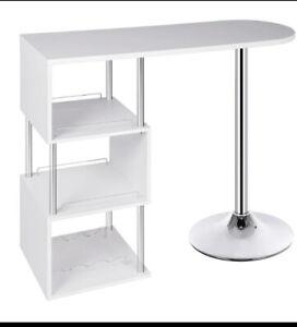 Kitchen Breakfast Bar Table White / Black