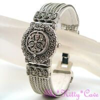 Vintage Silver Deco Nouveau Arabesque Regency Marcasite Ladies Bracelet Watch