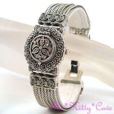 Vintage Silver Deco Nouveau Arabesque Regency Marcasite Ladies Bracelet Watch