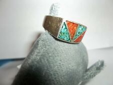 mens 925 STERLING INLAID STERLING AND TURQUOISE  AND CORAL RING  SIZE 10