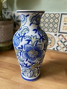 Unusual Vintage Bisque Blue And White Chinese Style Painted Pottery Vase