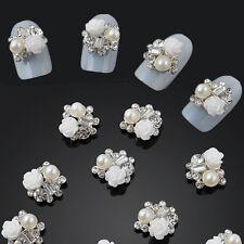 Beauty 10pcs 3D Alloy Jewelry Nail Art Decoration White Rose Glitter Rhinestone