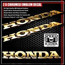 """2 X 6"""" 4MM 3D EMBLEM FAIRING/FENDER/TANK DECAL STICKER HONDA LOGO CHROME GOLD"""