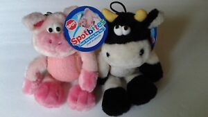 "SPOTBITES Plush ROLLY POLLY w/ 3""' HD BALL BODY  Squeaky HEAD Adorable COW & PIG"