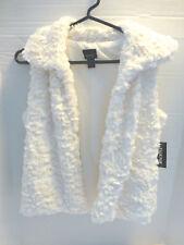 Faux Fur White Vest Girls Xl 14 16 New Soft Pockets