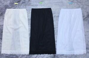 LADIES pretty half slip petticoat BLACK WHITE CREAM/NUDE lace hem Mid length NEW