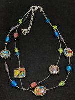 Vintage Chico's Silver Tone Blie Green Glass Foil Statement Necklace