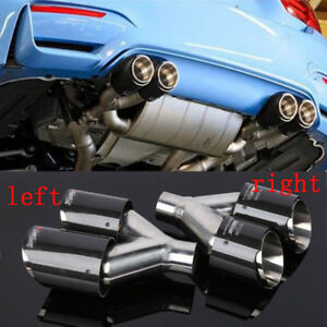 2X Luxury 100%Glossy Carbon Fiber Dual Car Exhaust Pipe Tip Left+Right End Cover