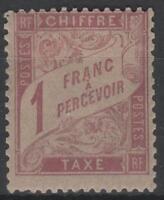 """FRANCE YVERT TAXE 39 SCOTT POSTAGE DUE  J 40 """"1 F  ROSE STRAW 1896 """" MH VF  K557"""