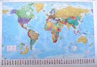 "LARGE MAP OF THE WORLD laminated POSTER ""FLAGS"" 61cm X 91.5cm LICENSED BRAND NEW"