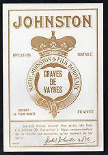 GRAVES VIEILLE LITHOGRAPHIE GRAVES DE VAYRES 1930/1950 EXPORT JOHNSTON §06/11§